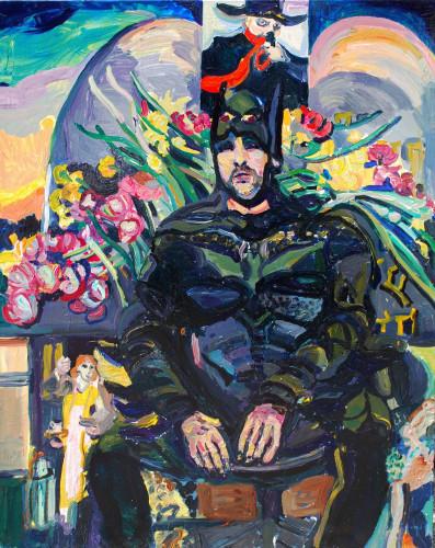 "I Wish I Were Batman 1, 2012.  Acylic on canvas, 48"" x 60"""