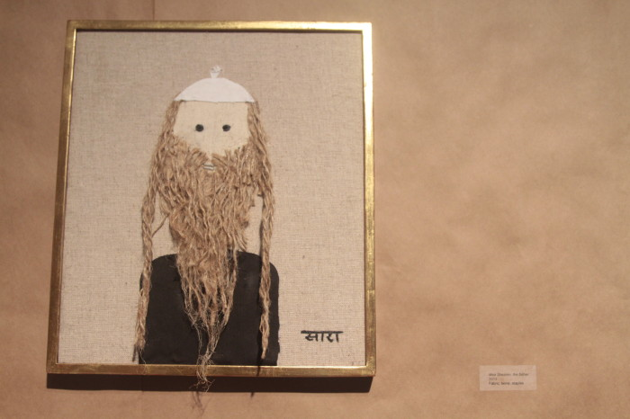 """Mea Shearim, the father"" Sara Erenthal 2014 Fabric, twine, staples Photo by Saul Sudin"
