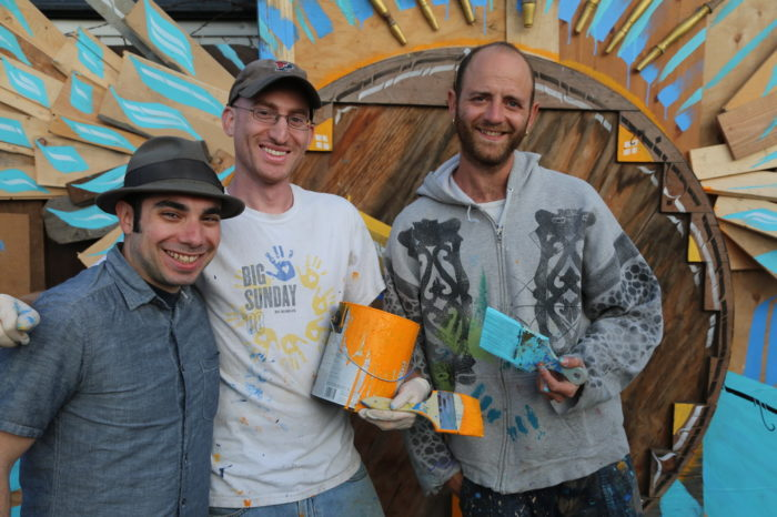 "Jewish Art Now Creative Director Saul Sudin with ""Illuminated Streets"" artists Hillel Smith and Itamar Paloge"