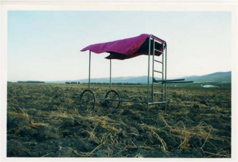Ken Goldman , Shmitta Mitta (Shmita Bed), photograph of performance, 2007-2008.