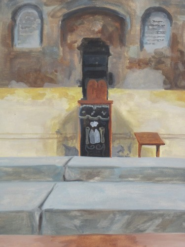 Alison Kruvant, Masonry Synagogue. Watercolor on paper, 12x16in, 200 dollars