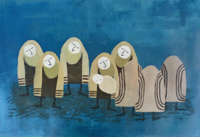 Noaj Sauer, Birth 2012. Acrylics, 50cm x 35 cm - Machzor Chaim -Life cycle מחזור חיים