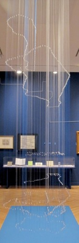 Extruded (an eruv project), Timeline and Map of Manhattan Eruvs from 1907 - 2012, R. Justin Stewart, New York, 2012, Nylon upholstery thread, jewelry hardware, brass hooks in masonite