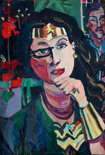 "Julie as Wonder Woman, 2013. Acrylic on Paper Mounted on Panel 26' x 40""."