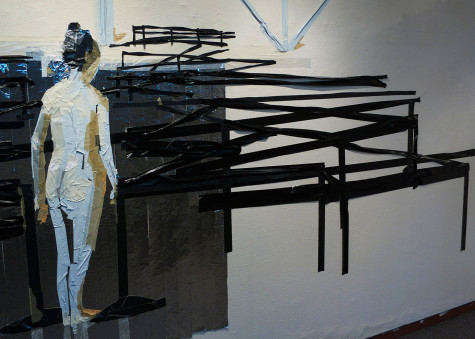 Tirtzah Bassel, Airport In Security (detail), 10′x44′, duct tape on wall, 2013