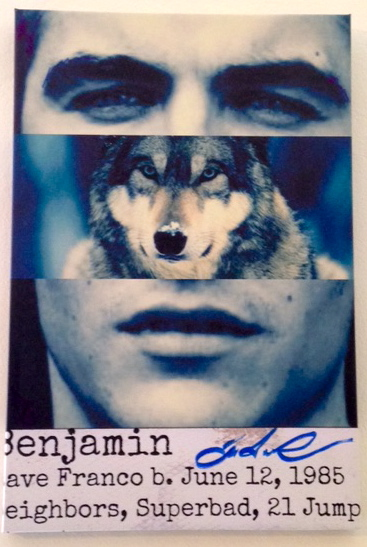 """""""Benjamin"""" Digital print on canvas + original art, 12"""" x 18"""" Benjamin is left-handed and associated with the wolf. Dave is sexy like the wolf. He is James Franco's baby brother."""